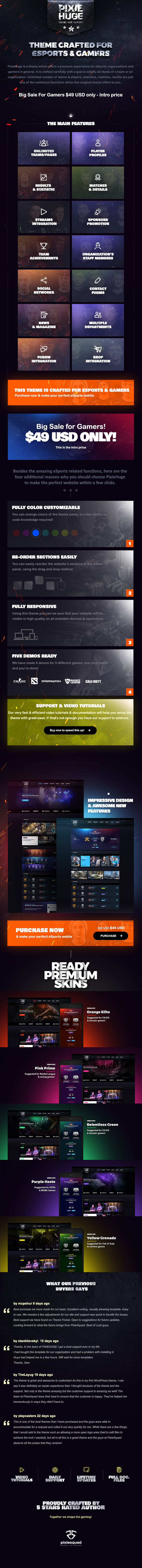 PixieHuge - eSports Gaming Theme For Clans & Organizations